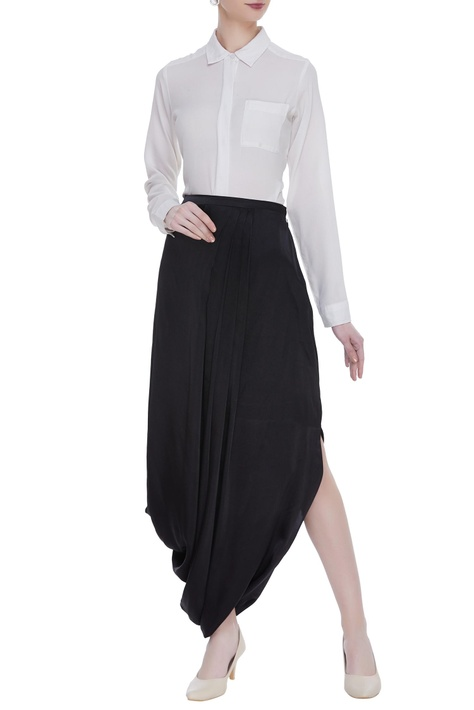 Draped skirt with button closure