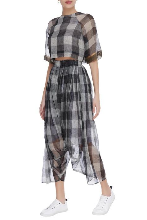 Kota silk checkered draped pants