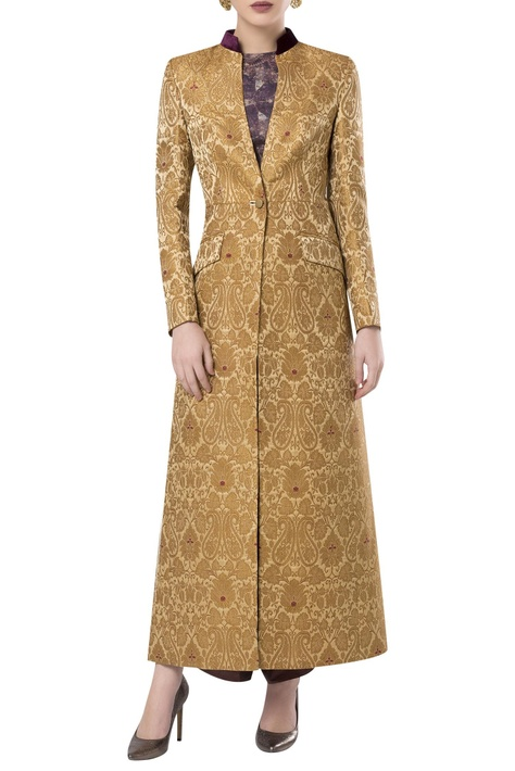 Brocade embroidered sherwani style over jacket