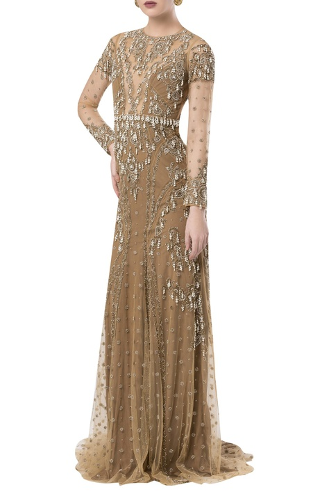 Pearl embroidered trail gown