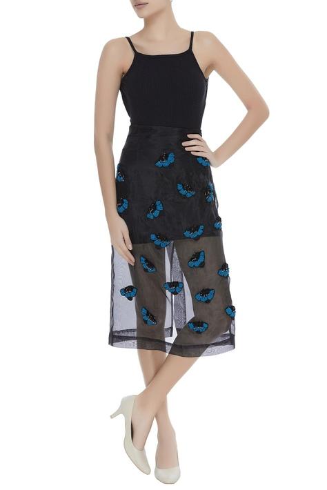Sheer bead hand embroidered midi skirt