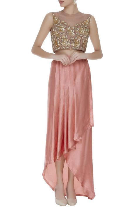 Draped style front slit skirt