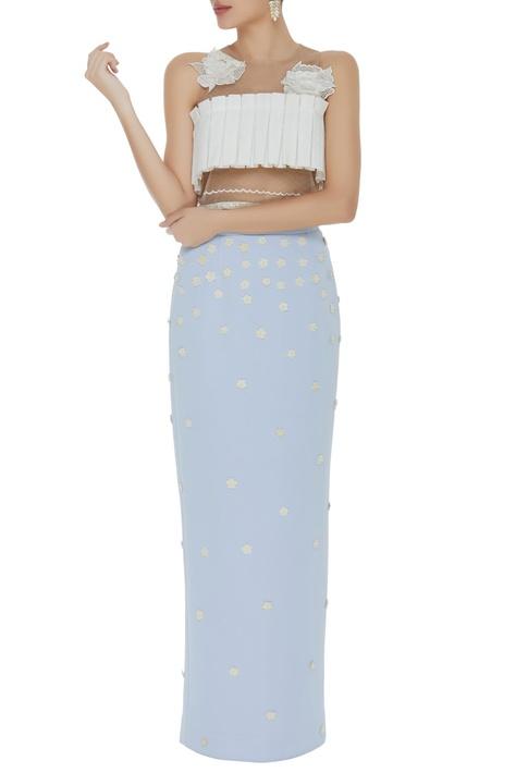 Floral applique maxi skirt