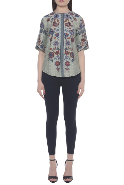 Hand embroidered printed top