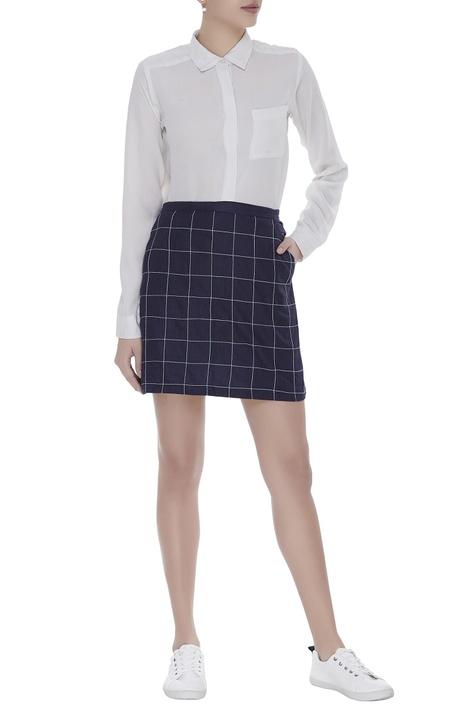 Linen checkered embroidered skirt