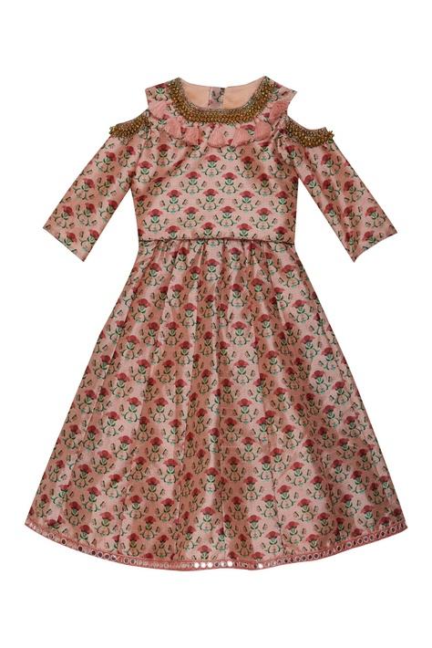 Tassel collar floral print gown