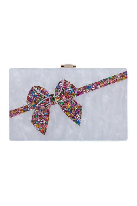 White bow box clutch