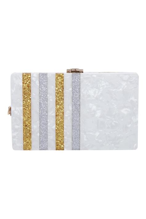 Glitter striped box clutch