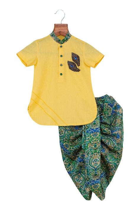 Embroidered kurta with printed dhoti pants
