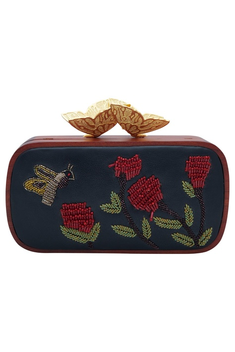 Bug & floral embroidered clutch