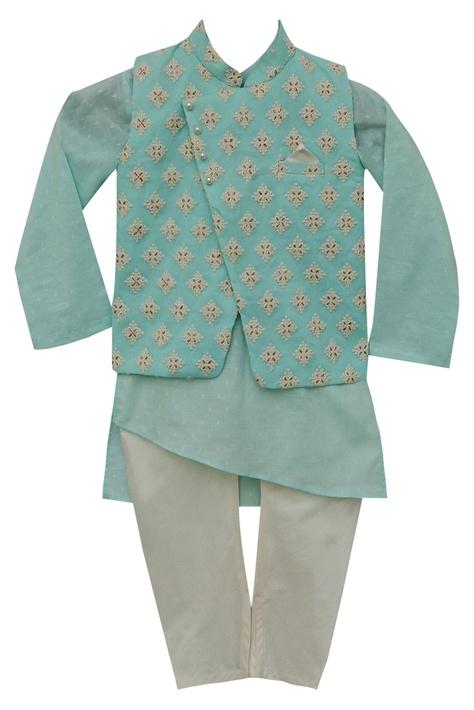 Cotton kurta with nehru jacket & churidar