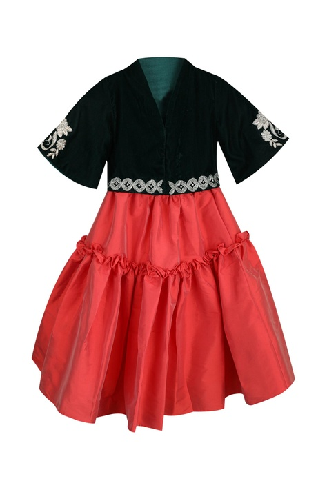 Embrodiered top with frill skirt