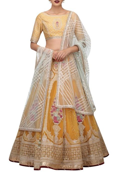 Embroidered lehenga & blouse with gota dupatta