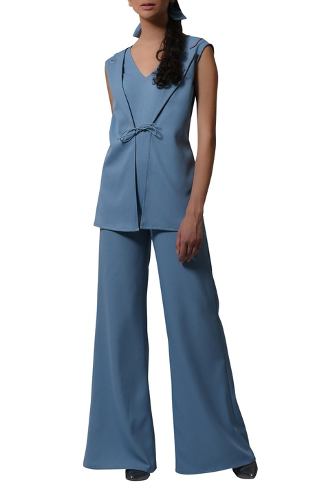 Blazer jumpsuit with tie up detail