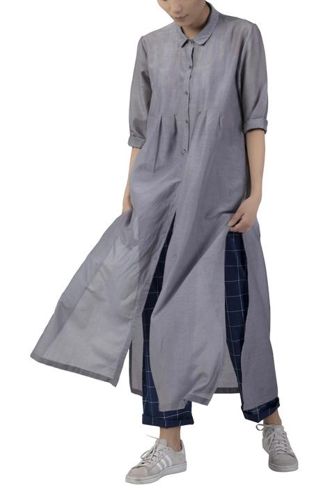 Collared cotton silk kurta