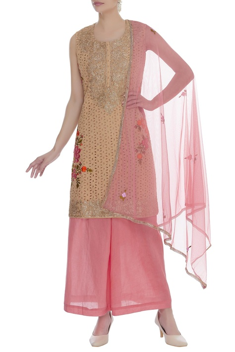 Embroidered kurta with palazzo