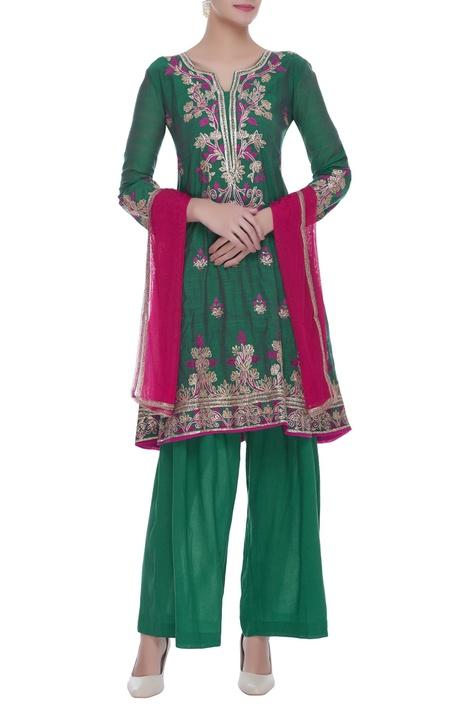 Embroidered kurta with pants & dupatta