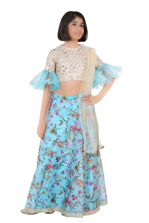Embroidered blouse with printed lehenga and dupatta