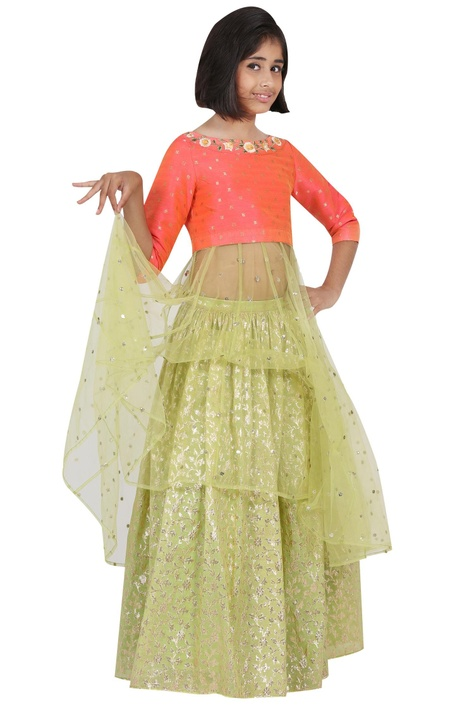 Embroidered yoke kurta with lehenga