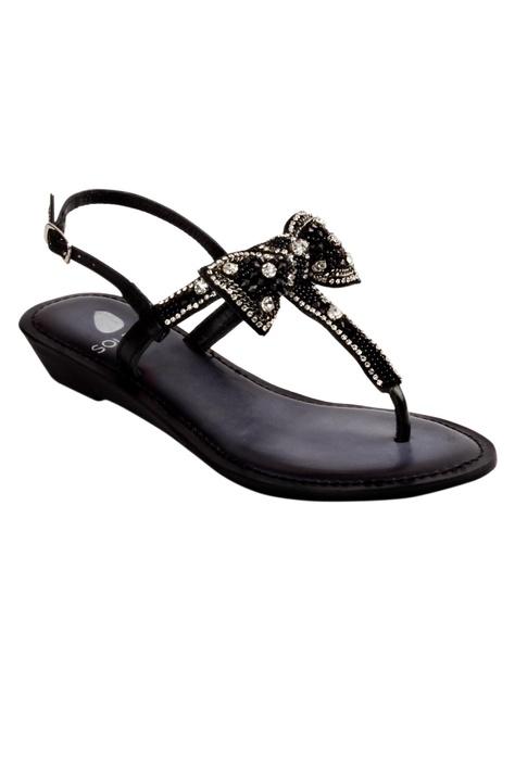 Bow Wedge Embellished Heels