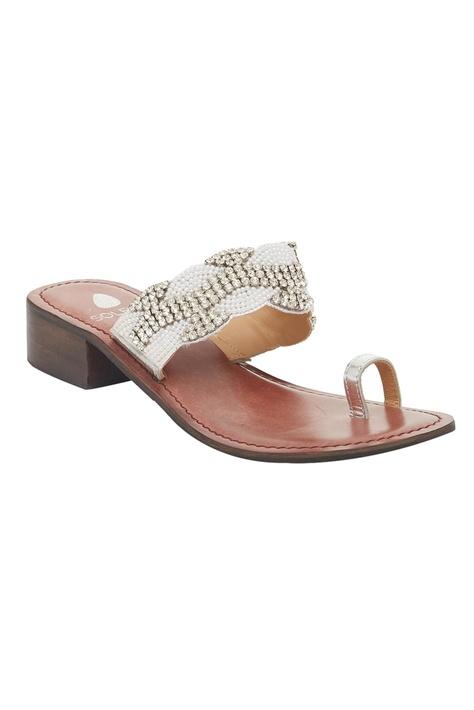 Pearl Beaded Box Heel sandals