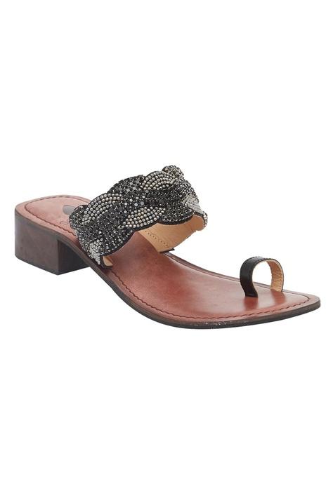 Open Toe Embellished Box Heel sandals