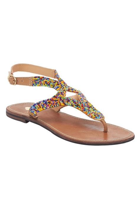 Multi Hued Beaded Strappy Sandals