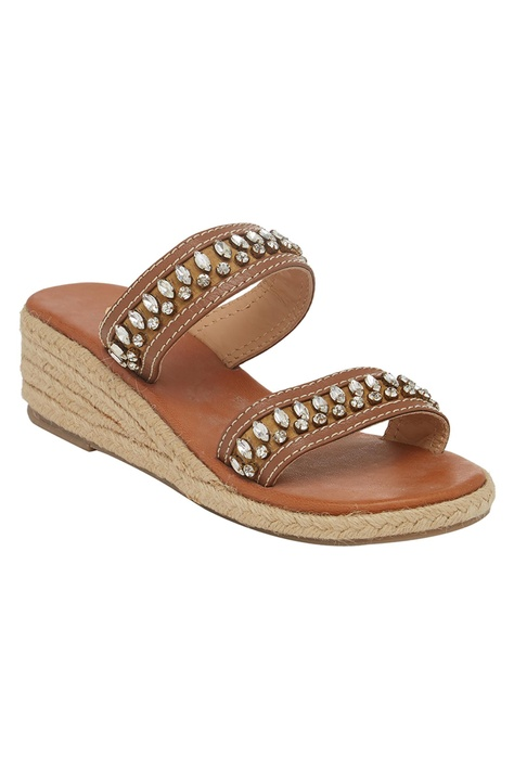 Jute Crystal Encrusted Wedges