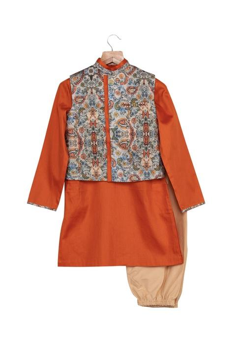 Katha Print Jacket With Kurta & Churidaar