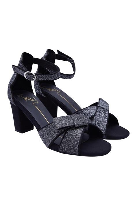 Glitter Bow Block Heels