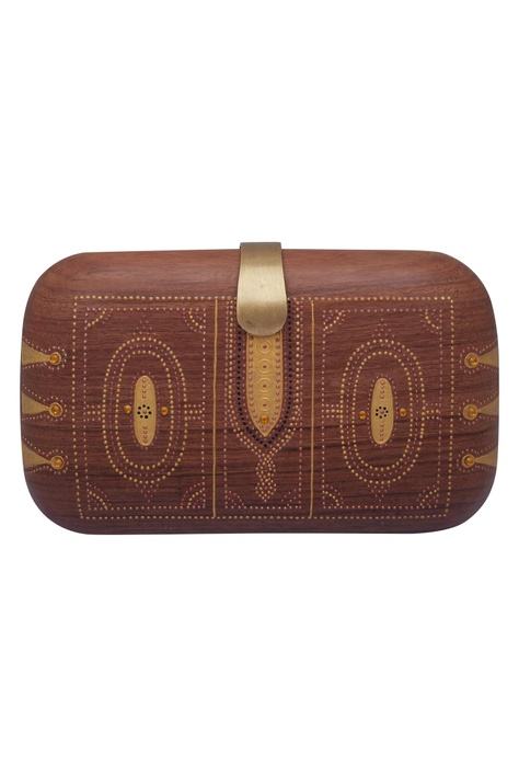 Gold hand painted clutch