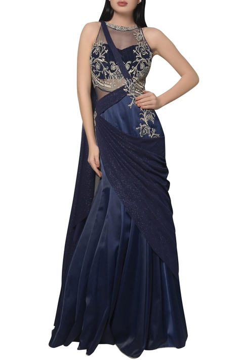 Embroidered draped sari gown