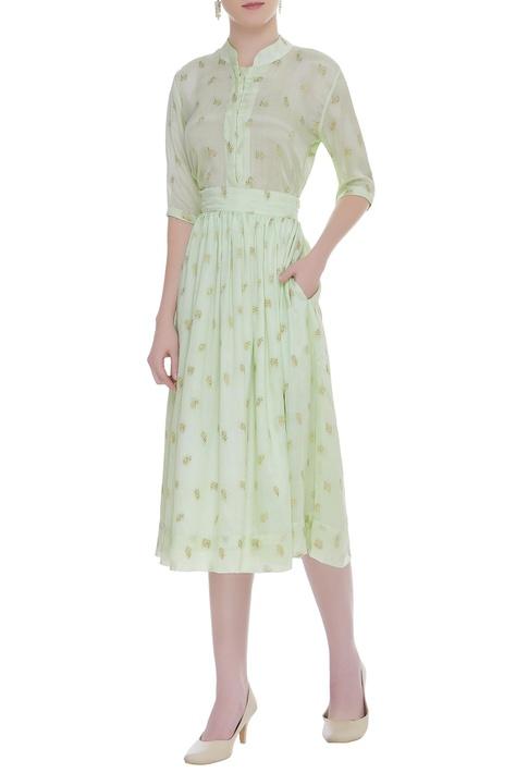 Rose Embroidered Midi Skirt