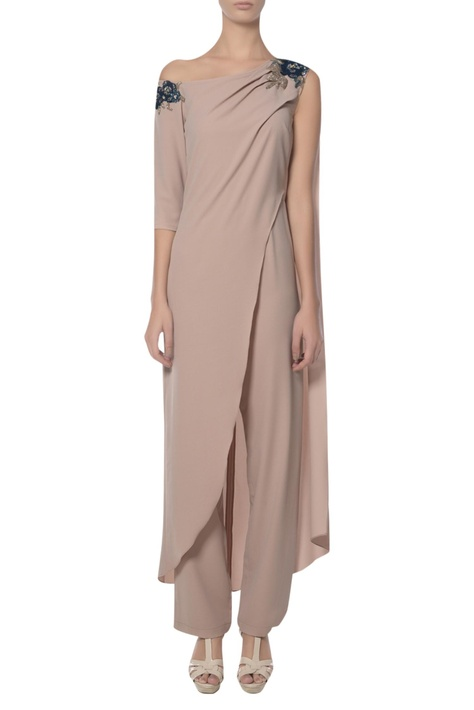 One shoulder draped jumpsuit