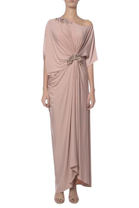 Pearl embroidered draped one shoulder gown