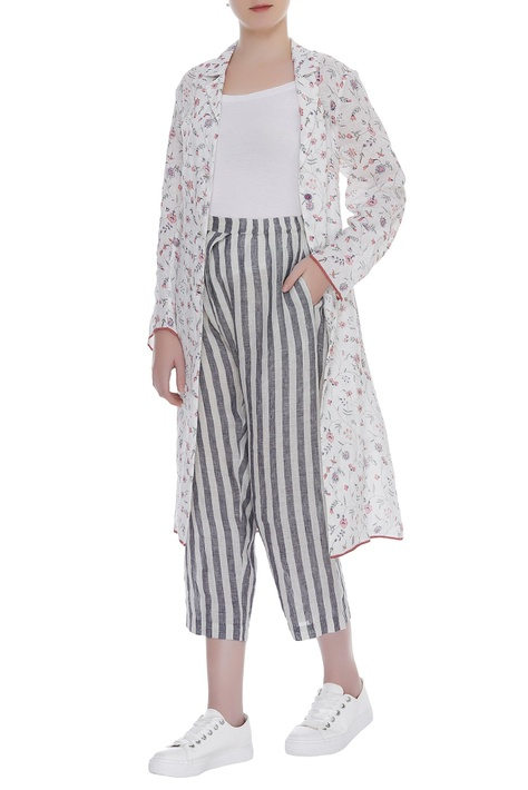 Stripe print pant with side pockets