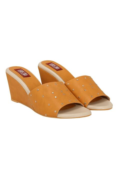 Embellished slip-on wedges