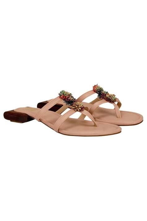 Floral embellished slip-on sandals