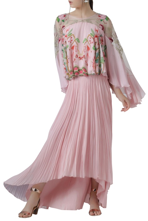 Printed Cape Top with Skirt
