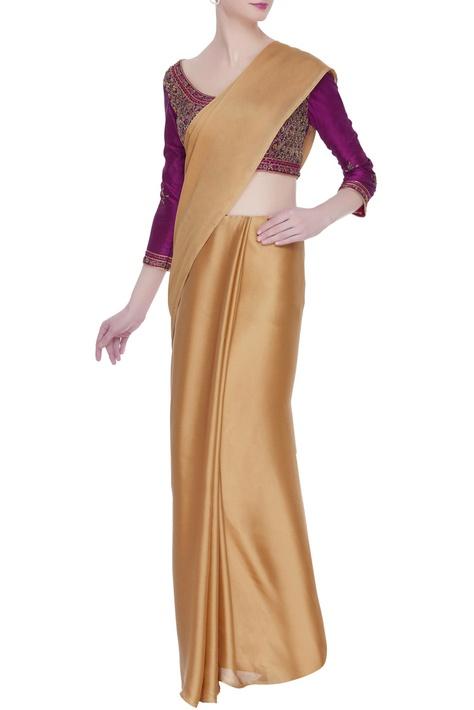 Zardozi embroidered saree blouse with dori closure