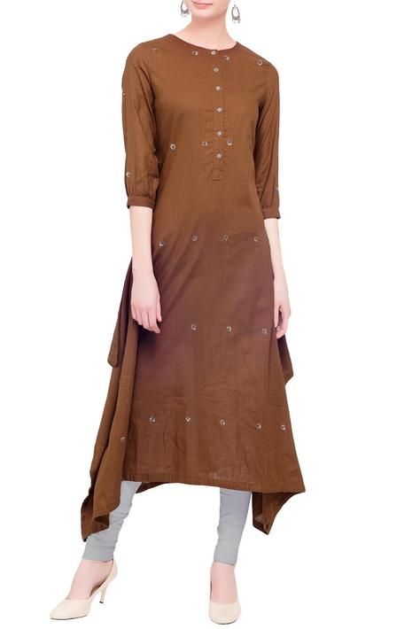 Line embellished asymmetric kurta