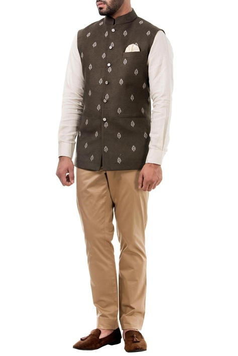 Dark grey linen thread work nehru jacket
