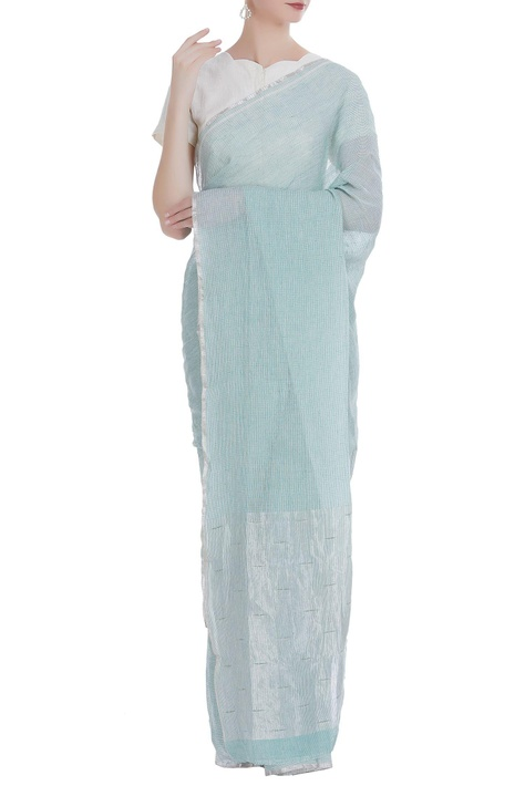 Soft checkered linen sari