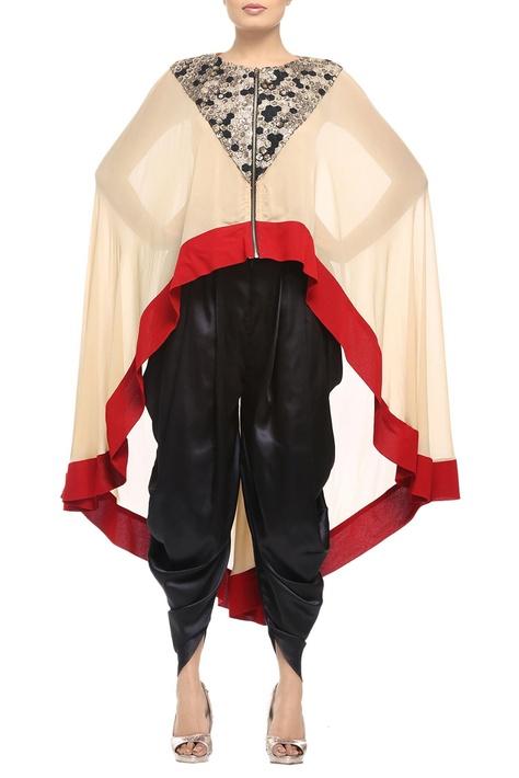 Beige & red sequins-embellished high-low cape