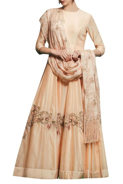 Peach chanderi & satin silk hand embroidered gown with hand embroidered dupatta