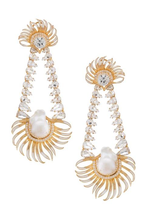 Stone embedded dual earrings