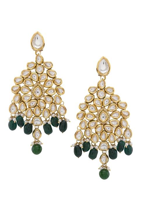 Kundan & beads scarlet earrings