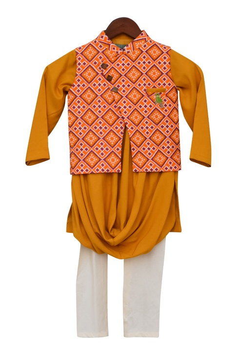Printed Bundi With Kurta & Churidar