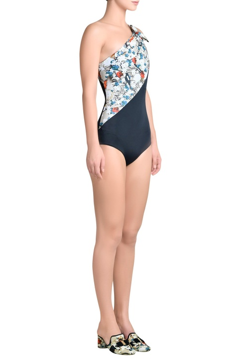 Printed one shoulder swimsuit with bow detail
