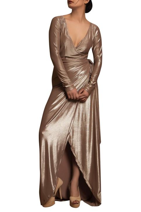 Wrap deep neck gown